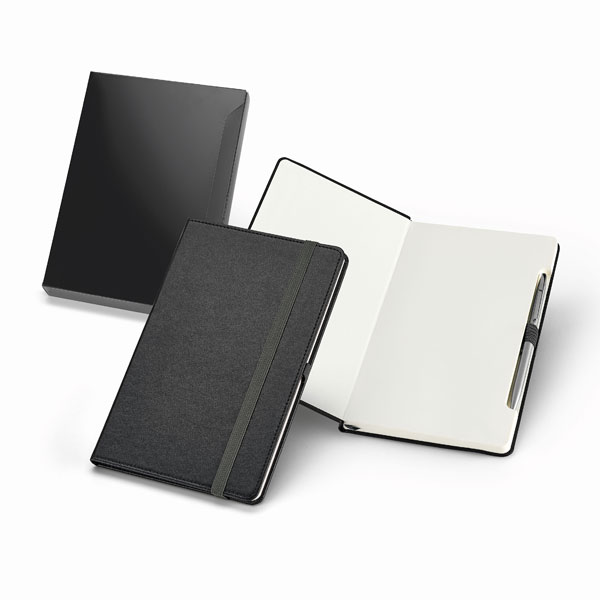 Notepad. Imitation leather. Hardcover. Metal pen included.
