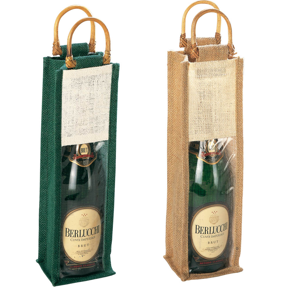 Jute bag with bamboo handles, for 1 bottle